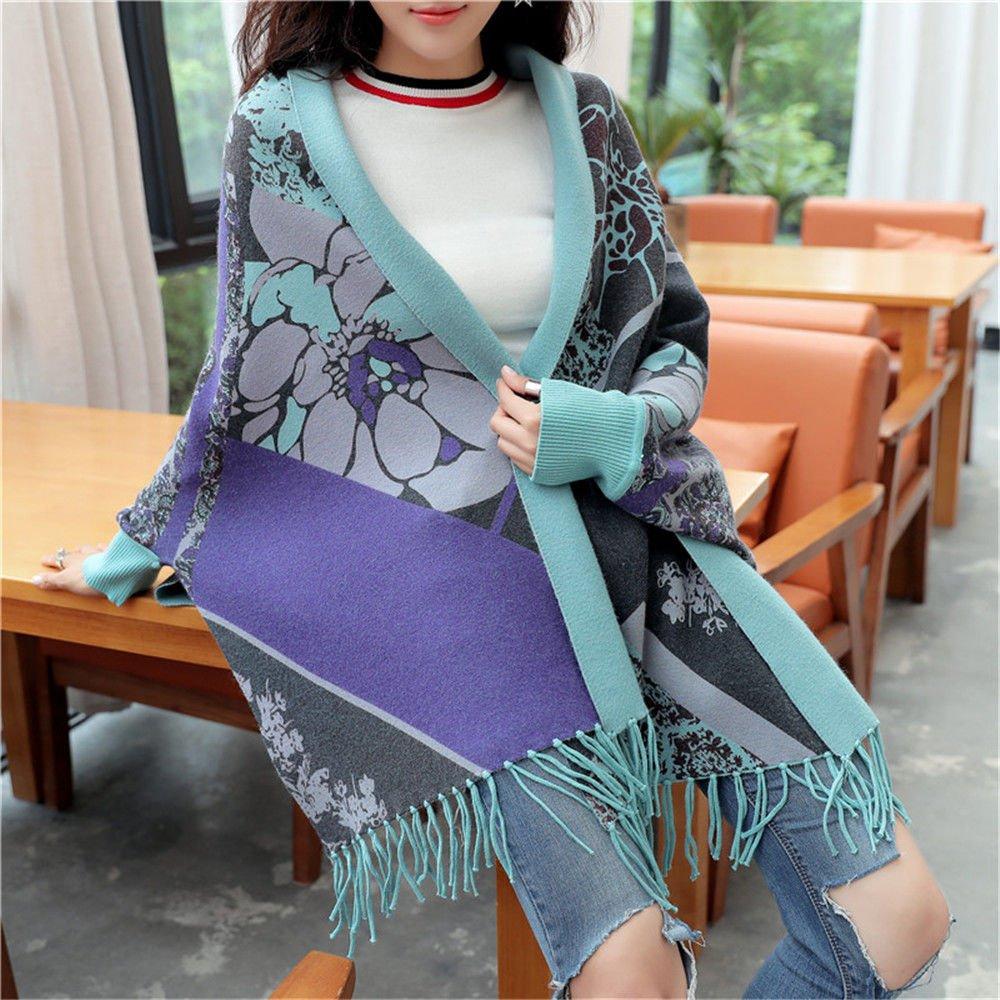 bluee ZHANGYONG Winter Sweater Cardigan Sweater Female Tassel bat Sleeve Loose Coat Cloak Shawls wear on Both Sides (80180 Jin can wear Cloak Code) Code,F (80180 Jin wear),bluee