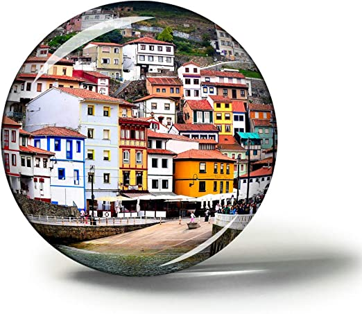 Hqiyaols Souvenir España Asturias Imanes Nevera Refrigerador Imán Recuerdo Coleccionables Viaje Regalo Circulo Cristal 1.9 Inches: Amazon.es: Hogar