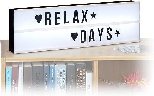 Relaxdays Caja de Luz LED con Letras y Símbolos, Blanco y Negro ...
