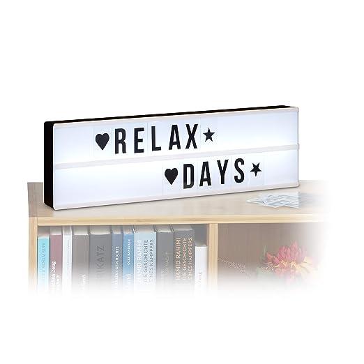 Relaxdays Caja de Luz LED con Letras y Símbolos, Blanco y Negro, 5.5x50x15 cm