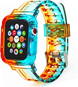 Clear Apple Watch Band 38mm 40mm 42mm 44mm with Rugged Protective Case, Crystal Soft Shockproof Resistant Watch with Strap Bands Cover for Apple Watch Series 6 5 4 3 2 1 SE (Crystal Colorful)