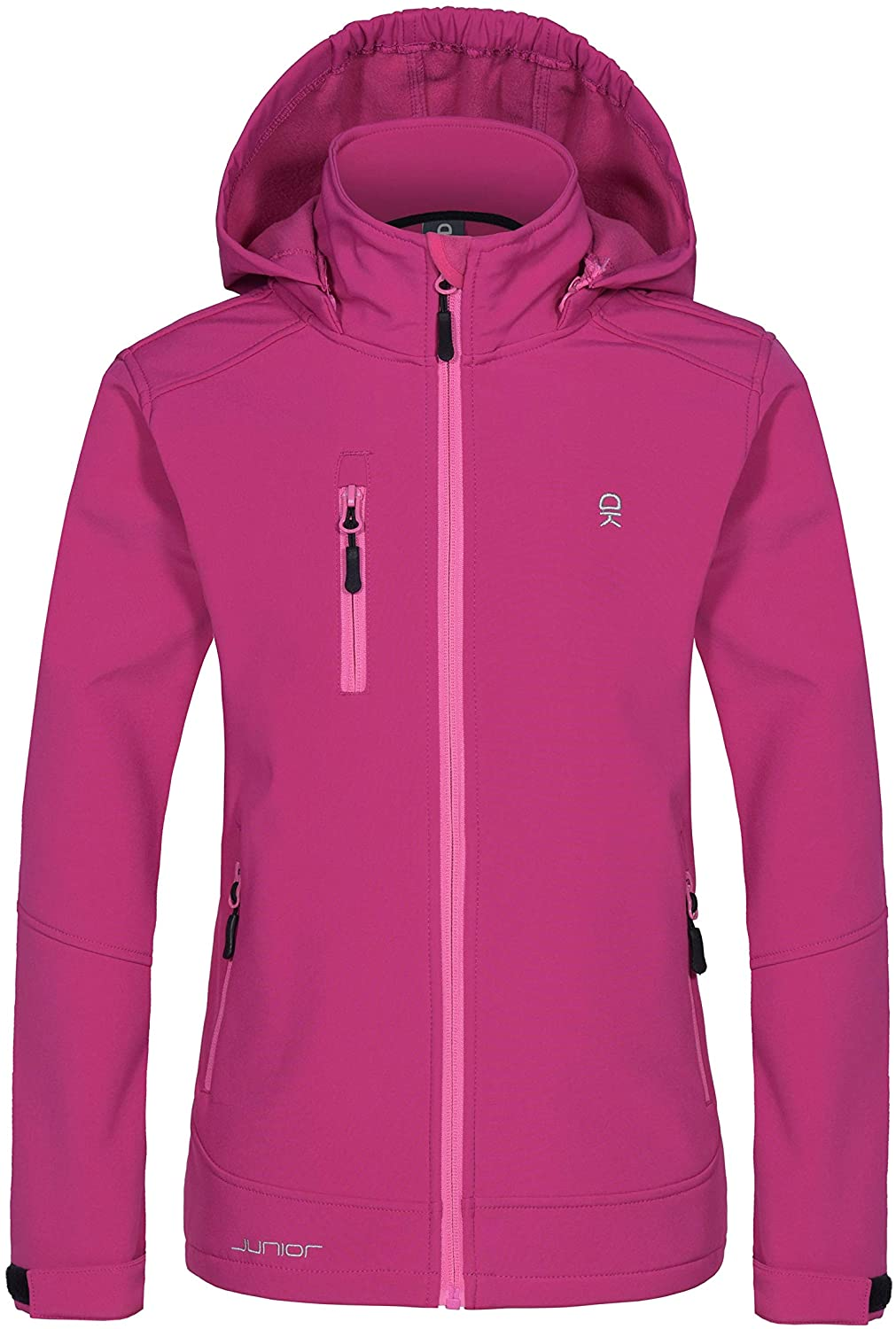 Little Donkey Andy Girls' Youth Softshell Jacket with Removable Hood, Fleece Lined and Water Repellent