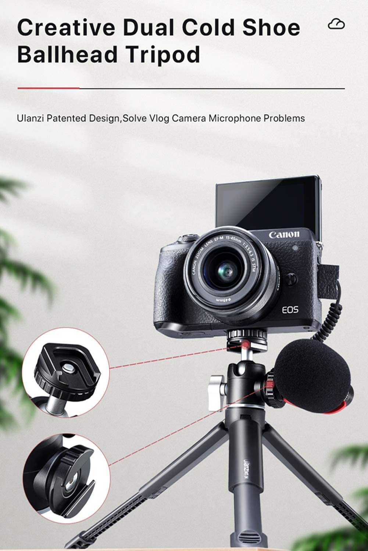 HAFOKO U-Vlog Lite Extend Mini Smartphone Tr/ípode de Escritorio Doble Cabezal de Bola de Zapata fr/ía para luz LED//Mic Compatible con G7X Mark III A6600 DSLR Camera Vlog la Capacidad Carga es 2kg