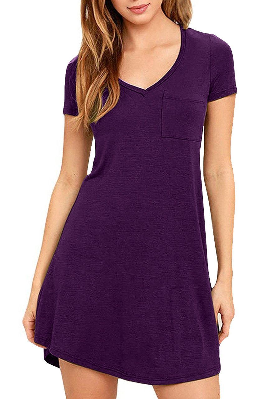 Eanklosco Womens Casual Short Sleeve Plain Pocket V Neck T Shirt Tunic Dress (Purple, M)