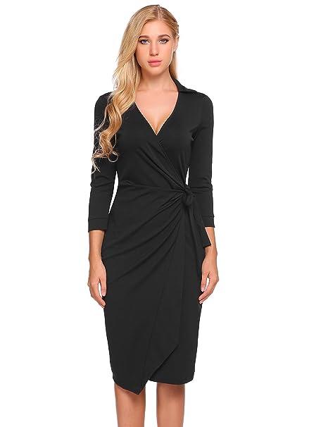 Modfine Damen V Ausschnitt Figurbetontes Kleid Langarm