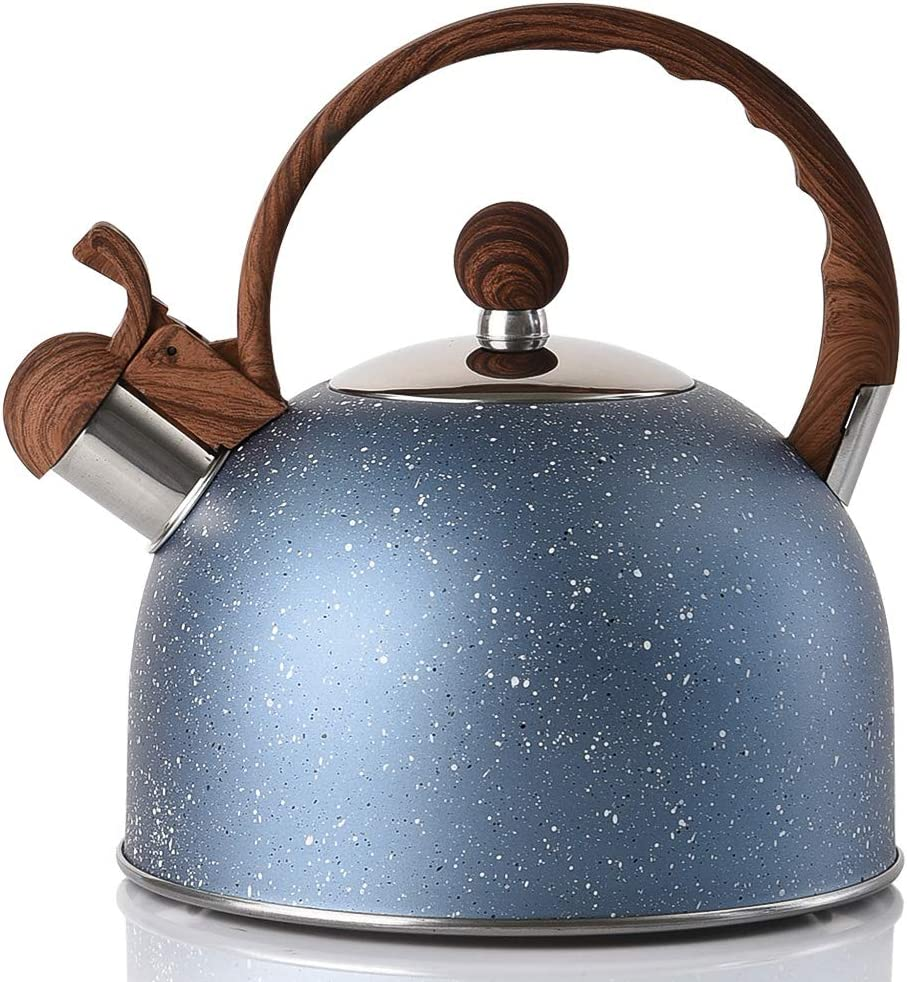 Stovetop Whistling Teapot Blue ROCKURWOK Tea Kettle Stainless Steel 2.43-Quart