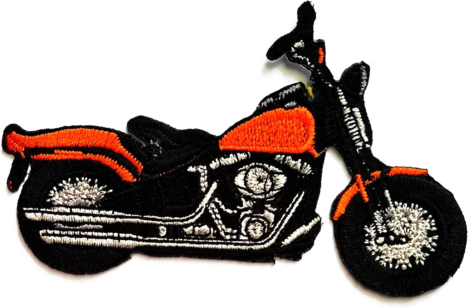 Nipitshop Patches Blue Motorcycle Bike Chopper Classic Design Motorcycle Vintage Cartoon Embroidered Patches Embroidery Patches Iron On Patches Sew On Applique Patch for Men Women Boys Girls Kid