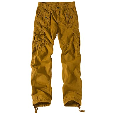 507b0aeb48d Sirain Mens Cotton Tactical Pant,Men's Straight Relaxed fit Casual Cargo  Pants (Earthy Yellow