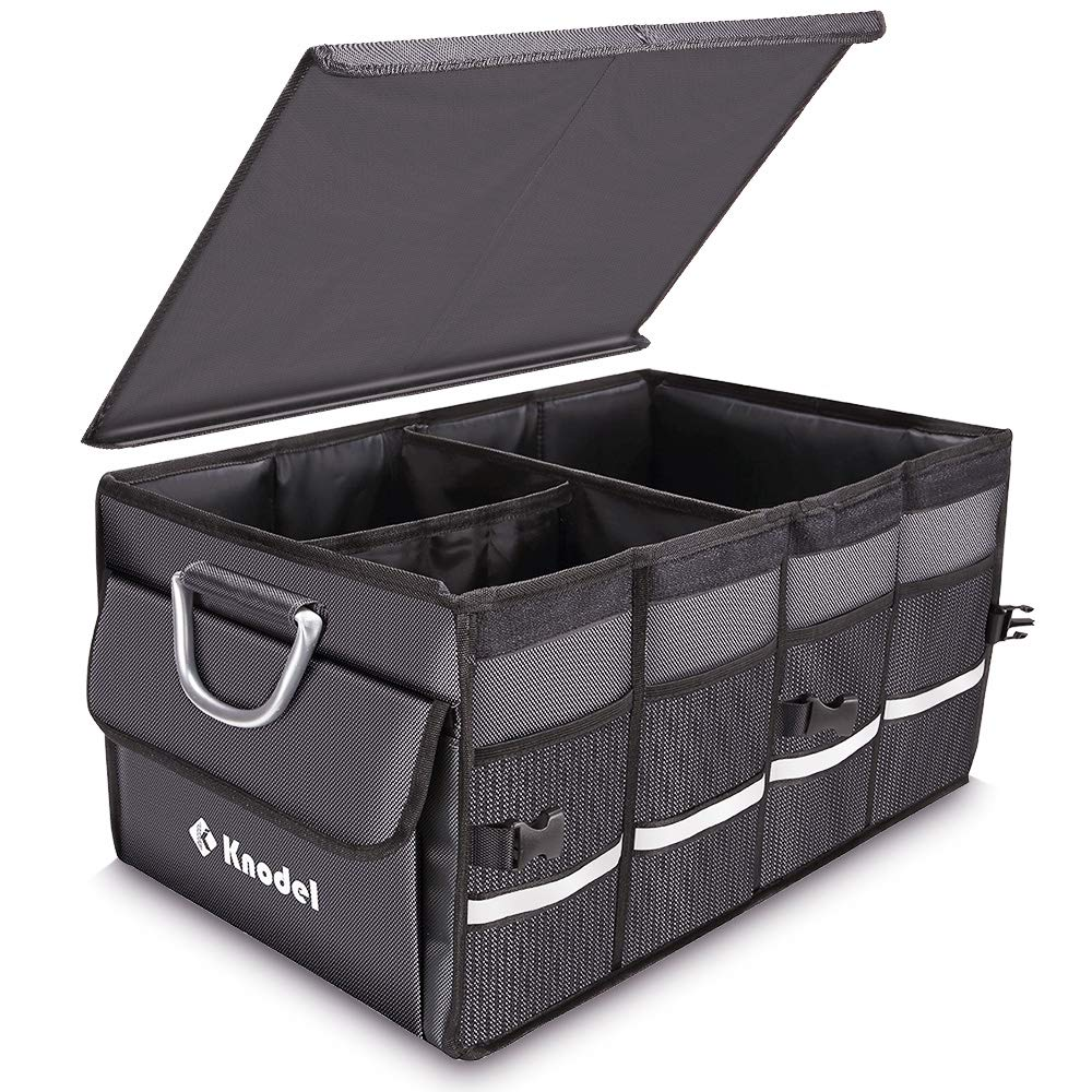 Knodel Sturdy Car Trunk Organizer with Foldable Cover, Heavy Duty Collapsible Cargo Storage Container, Multipurpose Portable Storage Bin and Carrier for Car...