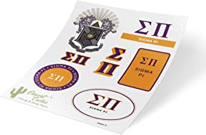 Sigma Pi Standard Sticker Sheet Decal Laptop Water Bottle Car sig pi (Full Sheet - Standard)