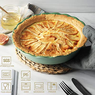 Teocera Porcelain Pie Pan for Baking Red Set of 1 Pie Dish Pot Pies Round Pie Plate with Ruffled Edge 10.5 Inches for Apple Pie