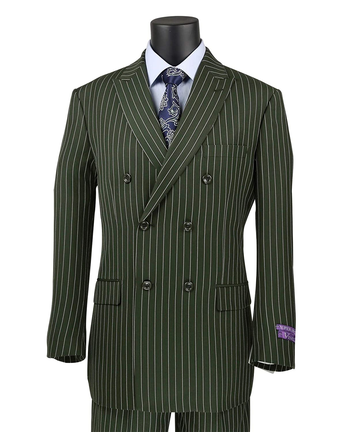 1920s Men's Suits History VINCI Mens Gangster Pinstriped Double Breasted 6 Button Classic-Fit Suit New $119.95 AT vintagedancer.com