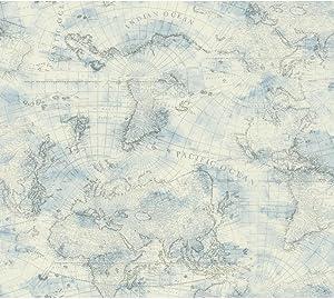 York Wallcoverings Nautical Living Coastal Map Removable Wallpaper, Cream/Sky Blue/Dark Grey