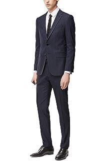 7d3f7d4d Hugo Boss Men's 'Novan/Ben' Slim Fit Dark Blue Striped Cotton Wool Suit