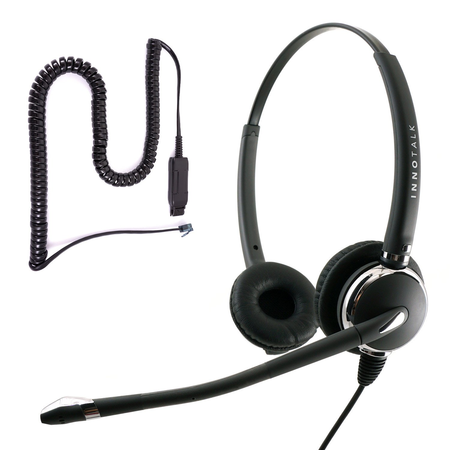 Avaya IP 1608, 1616, 9601, 9608, 9610, 9611, 9611G Pro Binaural Noise Cancel Mic Phone Headset with Plantronics compatible QD for Call Center