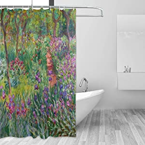 AHOMY Shower Curtain Set 72 x 72 Inches, Iris Garden at Giverny Monet Art Bath Curtain Waterproof Bathroom Shower Curtains with 12 Hooks