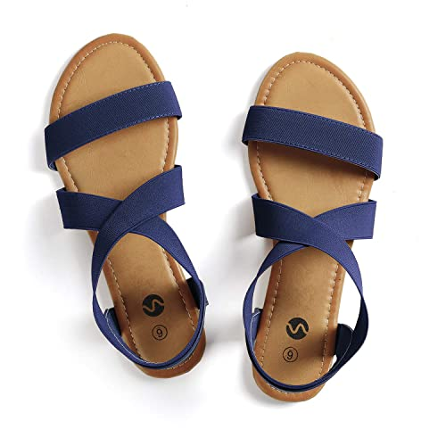 d0320b9cb2a Rekayla Elastic Ankle Wrap Flat Sandals for Women Navy Blue05
