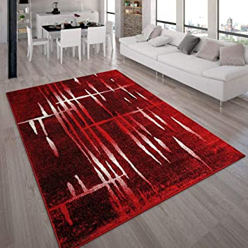 Merveilleux Tapis Design Moderne Poil Court Trendy Rouge Crème Moucheté,  Dimension:70x140 Cm