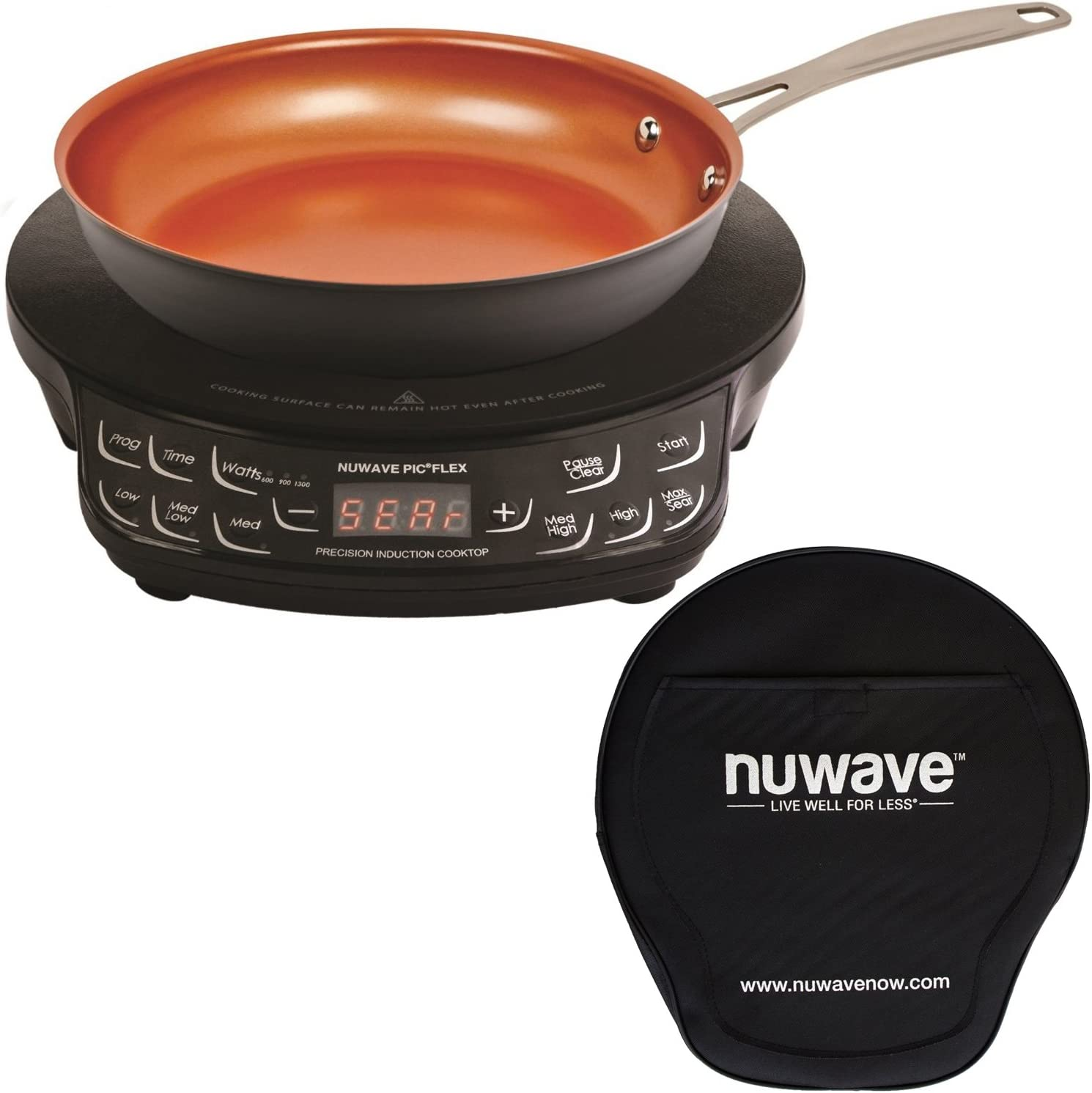 NuWave Compact Induction Cooktop w/9' Hard Anodized Fry Pan & Storage Case