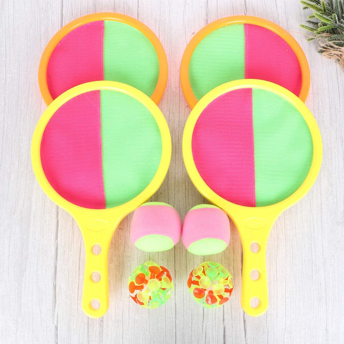 LIOOBO 2 Sets Paddle Toss and Catch Ball Set Disc Paddles and Toss Ball Sports Interactive Game for Adults Kids Random Color