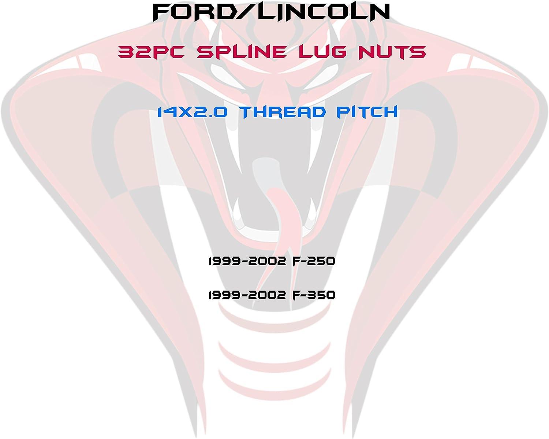 14x2.0 Red Locking Spline Lug Nuts Complete Set Includes 2 Key Socket Venum wheel accessories Fits 1999-2002 F-250 F-350 32