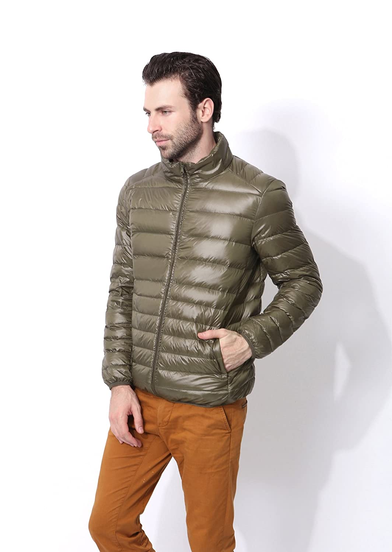 Hgfjn EIN dünner Baumwolle gepolsterte Winter männer Mode männer Kurze größe matelkragen,Army Grün,XXXL