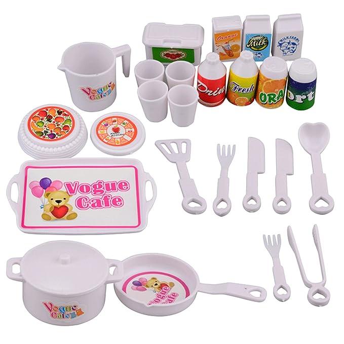 25 PCS Niños Ollas de simulación Sartenes Cucharas Tazas Cuchillos Utensilios de cocina Cocina Juguete Cocina Juego de roles Juegos de rol Juego de ...