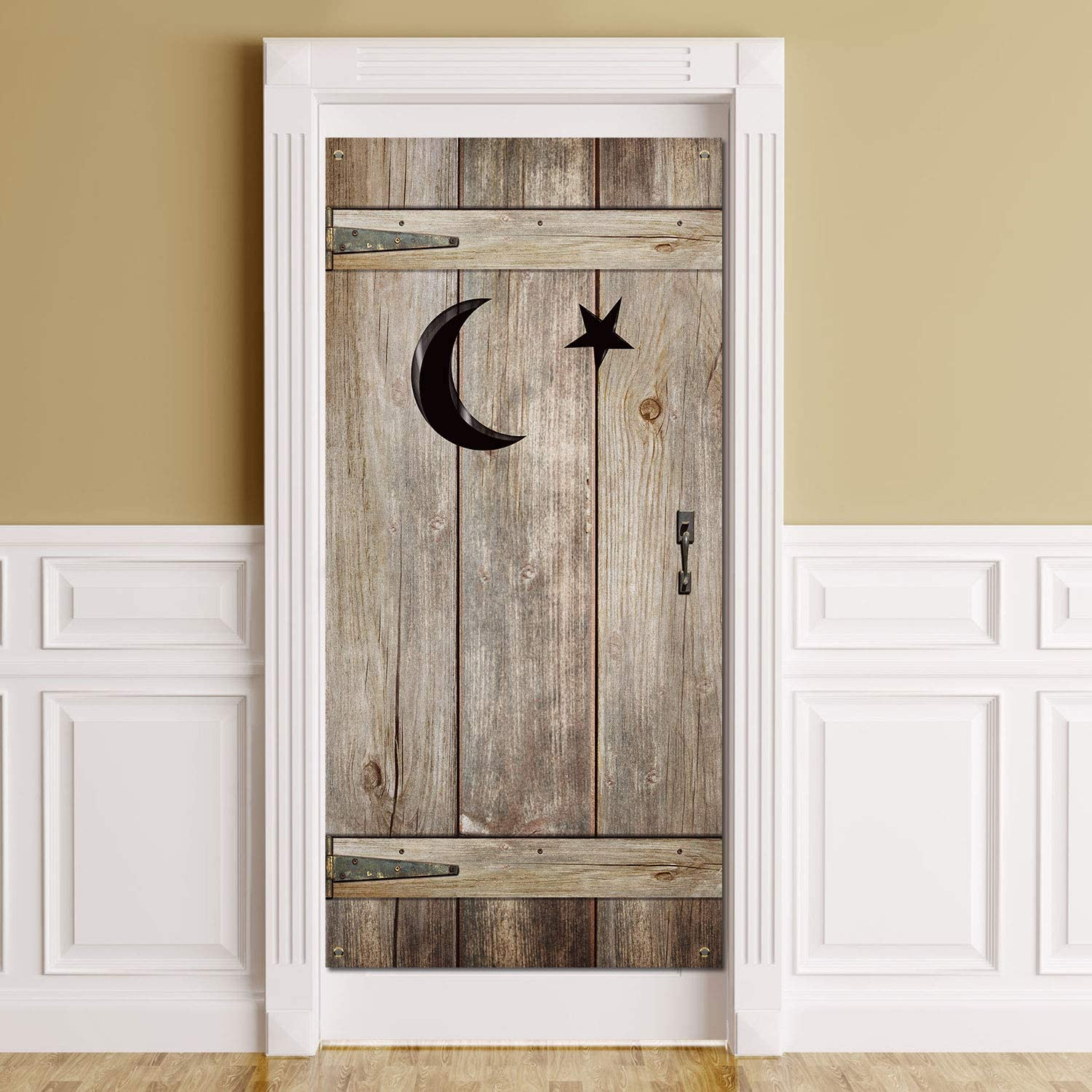 Outhouse Decorations Vintage Outhouse Barn Door Banner Backdrop Bathroom Door Cover Western Party Porch Sign Photo Booth Background for Western Country Theme Outhouse Party Supplies, 6 x 3 FT