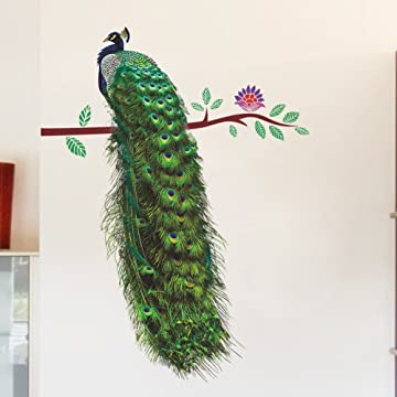 Wallflexi Wall Stickers Peacock and Magnolia Tree Wall Art Murals Removable Self-Adhesive Decals Office Home Decoration Multi-Colour