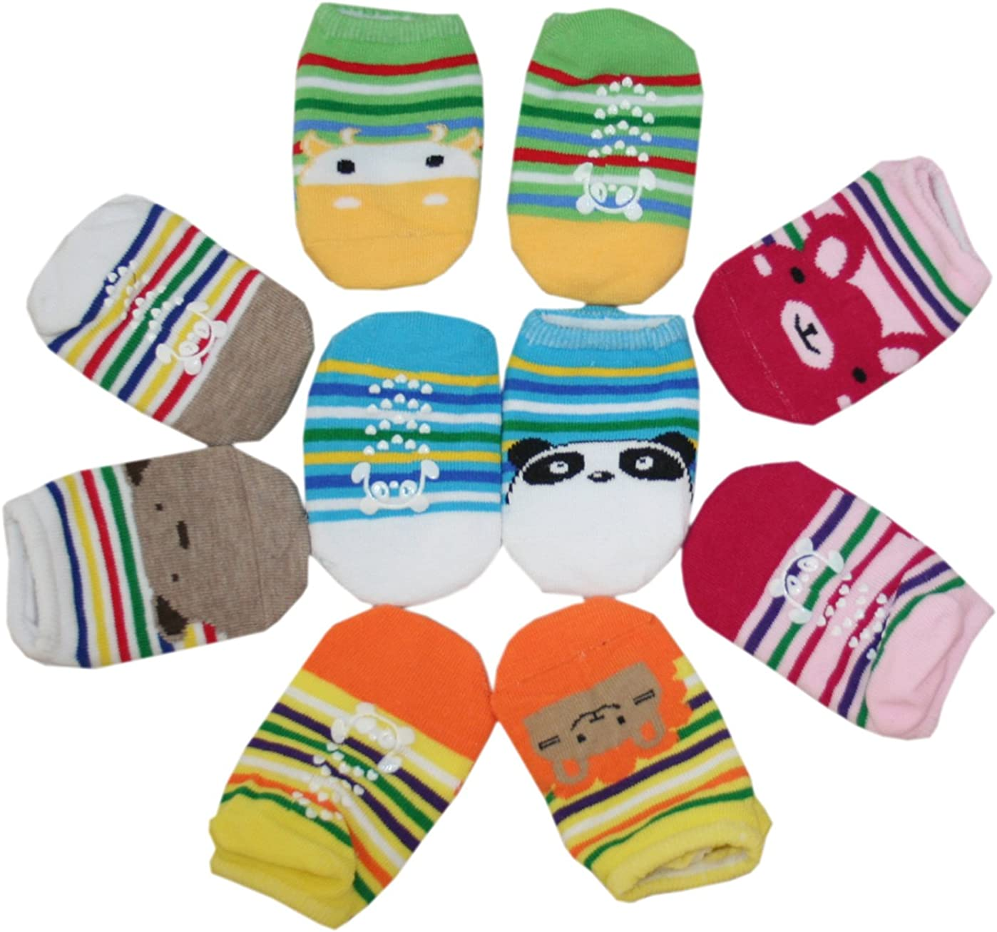 Riddles 10 Pairs Cute Baby Socks with Animal Pattern Unisex Crew Boat Anti-Slip Fit 6-18 mo