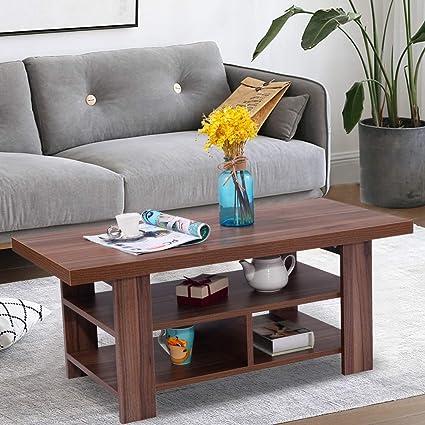 Amazon.com: Wood Coffee Table,BestComfort Modern Center ...