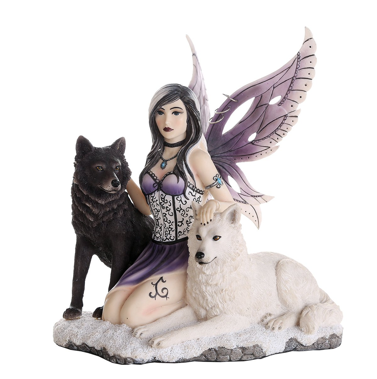 Companion Fairy Ebondy and Ivory Wolves Fairy Collectible Decorative Statue 11H Pacific Trading 11892