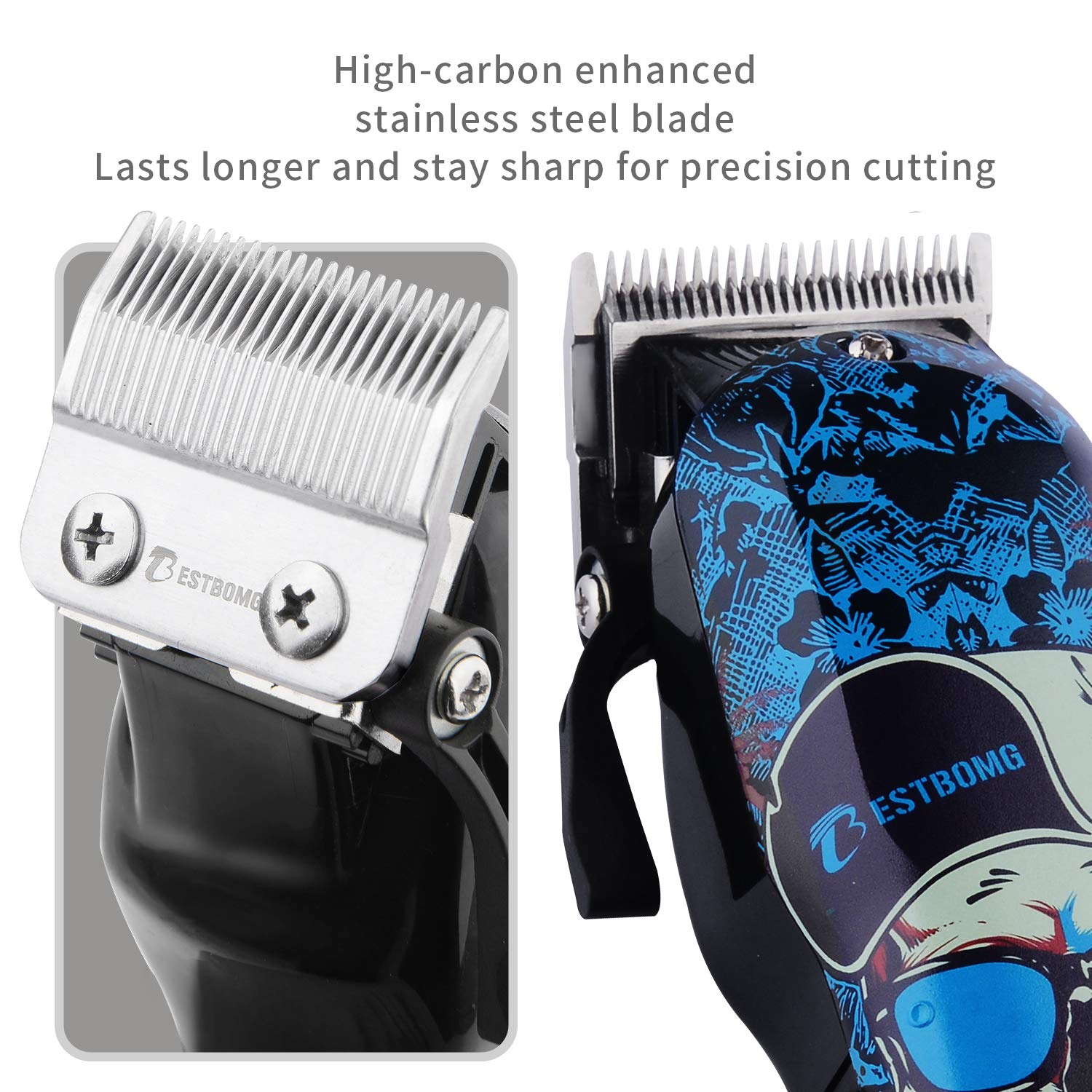 Professional Hair Trimmer Cordless Hair Clippers Beard Trimmer For Men Kids Professional Hair Cutting Kit Set with Taper Lever, Rechargeable Li-ion Battery 2000mAh Heavy Duty Motor, Detachable Cord