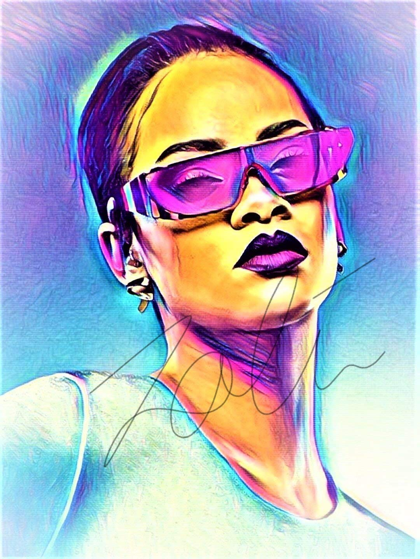 Rihanna Abstract Drawing Print Poster Hand Drawn Pop Art Vibrant Painting #RIHANNA_ABSTRACT2: Amazon.es: Handmade