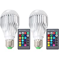 2-Pack DLPIN 10W RGBW Color Changing Light Bulbs LED Dimmable Lamp with Remote Control E26