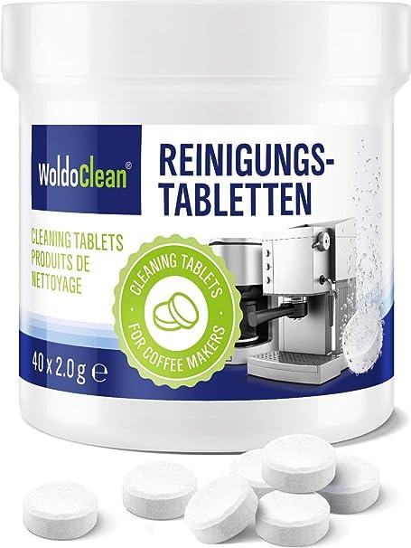 Pastillas para la limpieza de cafeteras automáticas - 40x tabletas limpiadoras compatible con marcas, Delonghi, Seaco, Krups, Senseo, Siemens