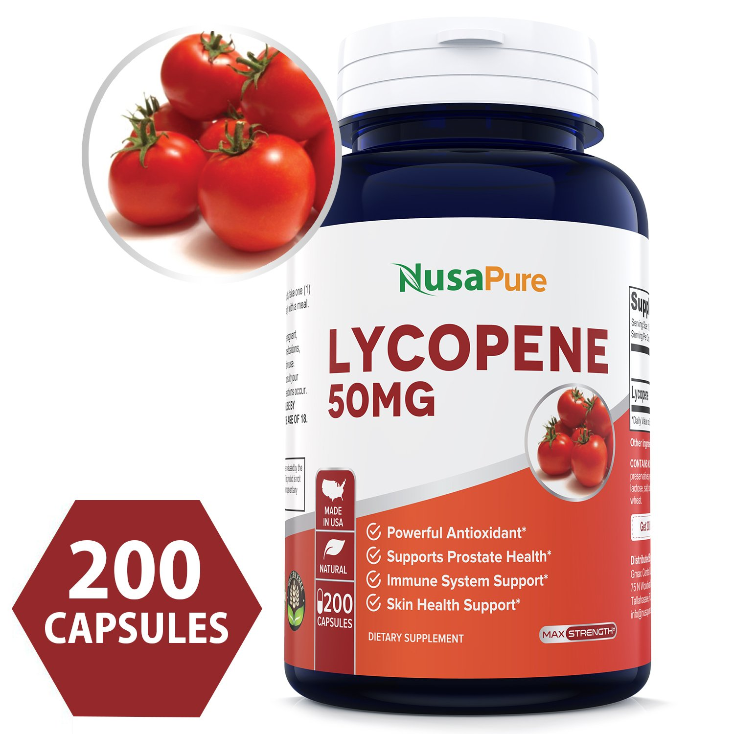 Lycopene 50MG 200 Capsules (Non-GMO & Gluten Free) Antioxidant Natural Tomato Great for Prostate Health, Immune System Support, Heart Health, Eyesight Support by NusaPure