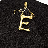 Mallallah Collier 26 Lettre Alphabétique A-Z Charme Bambou Pendentif Nom Initial Bijoux Doré Femmes Homme Corde Chaîne Plaqué Or