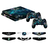PS4 Slim Controller Skins- Decals for Playstation 4 Slim Games - Stickers Cover for PS4 Slim Console Sony Playstation Four Accessories with Dualshock 4 Two Controllers Skin - Universe