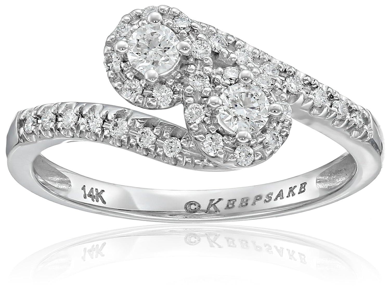 Keepsake Signature 14k White Gold Diamond Two Stone Engagement Ring