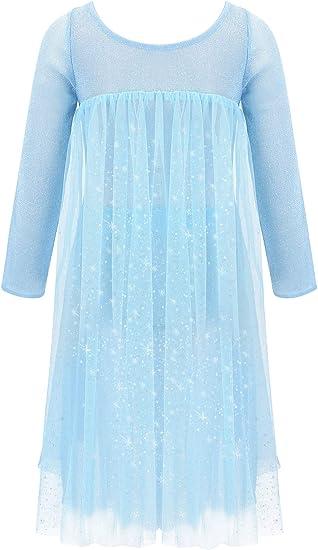 ranrann Disfraz de Princesa Reina Nieves para Niña Vestido Largo ...