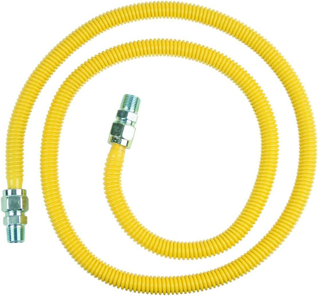 BrassCraft CSSC44-72 P 1/2-Inch MIP x 1/2-Inch MIP x 72-Inch ProCoat Gas Appliance Connector, 5/8-Inch, OD 86,000 BTU