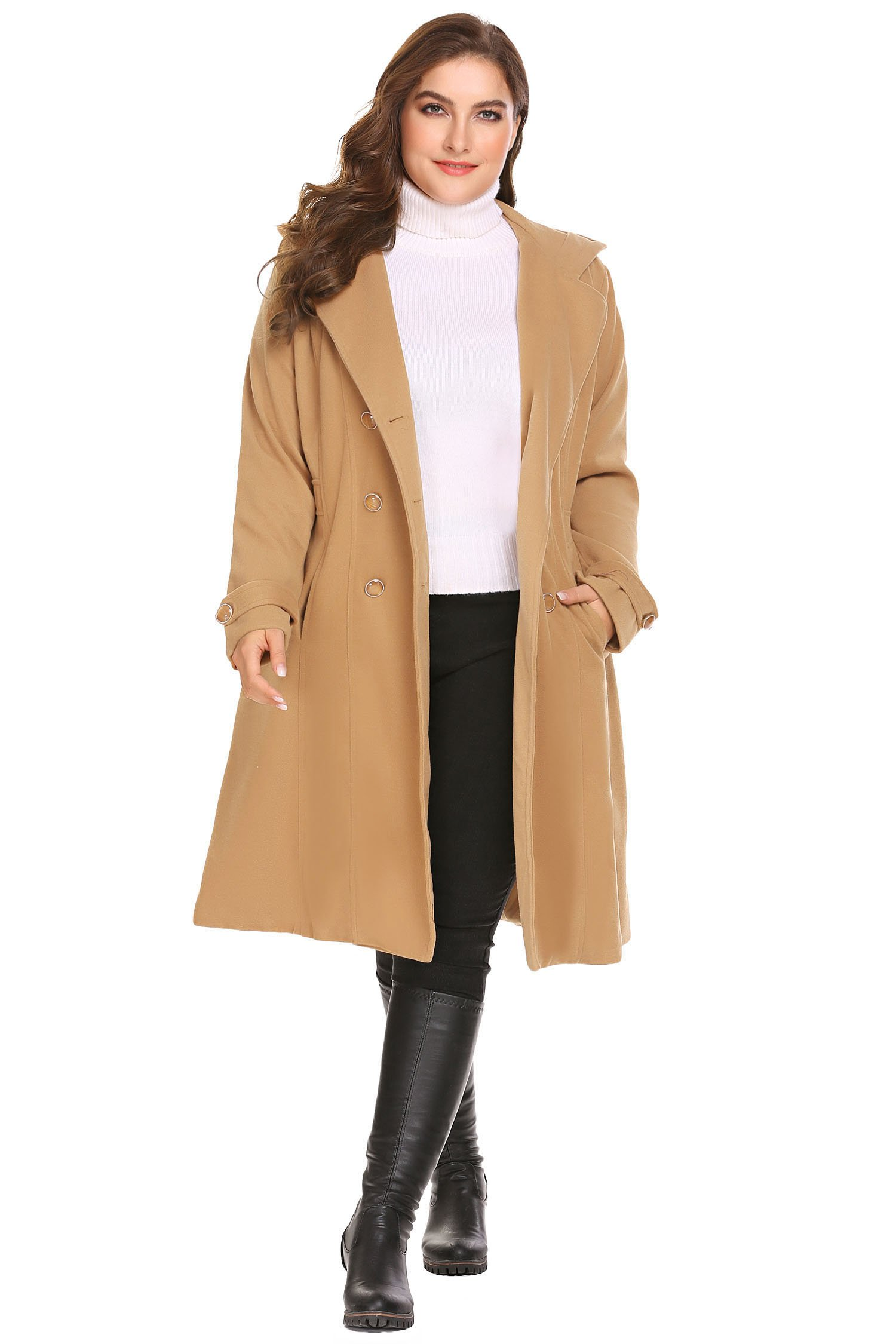 Zeagoo Women Plus Size Double Breasted Wool Elegant Long Lined Lightweight Trench Coat (16W-24W) by Zeagoo (Image #2)