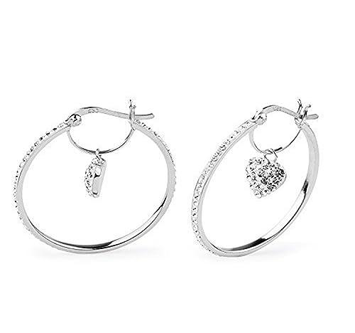9e55b7164 Amazon.com: Sterling Silver Crystal Heart Drop Dangle Hoop Earrings ...