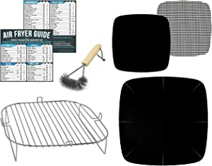 Air Fryer Accessories Compatible With Ninja Foodi, Cuisinart TOA, Soing, Instant Vortex, Nuwave Brio 14 QT, Power Airfryer Oven Elite, Emeril Lagasse 360 +More | Rack & Magnetic Cheat Sheet Guides