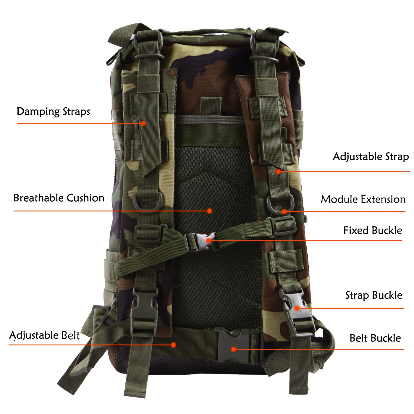 HDE Military Tactical Backpack Expandable Small Lightweight Assault Pack 20L MOL