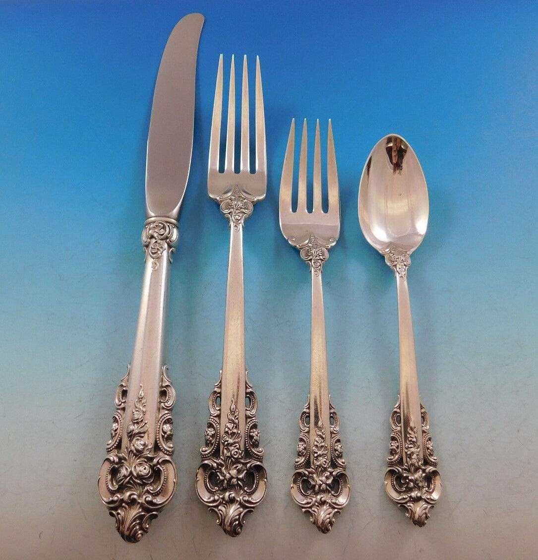 """Wallace Grande Baroque Antique Sterling Silver 6 1//4/"""" TEASPOON"""
