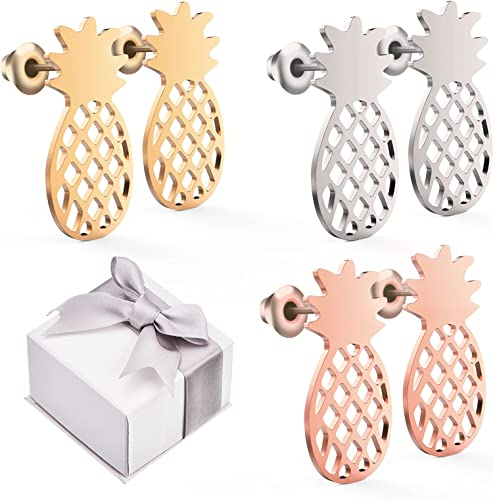 TOODOO 3 Pairs Pineapple Stud Earrings Tropical Fruit Jewelry Pineapple Jewelry with Gift Box for Women and Girls 3 Colors B078S24FQB/_US