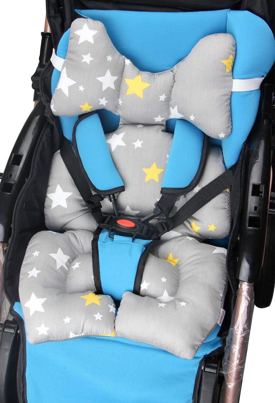 Blue KAKIBLIN Baby Travle Pillow Head and Neck Support Pillow for Pushchair,Function-Stroller,Car Seat,Pram