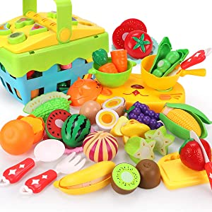 REMOKING Food Toy Set, Fun Kitchen Pretend Cutting Play Set, Educational Food Playset with Fruits, Vegetables ,Basket , Tableware Recognition Blocks, Great Giftsfor Kids 3 Years and up(35 Pieces)